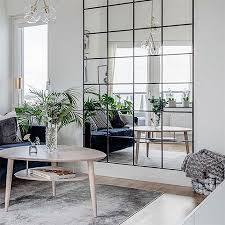 mirror wall feature for a living room