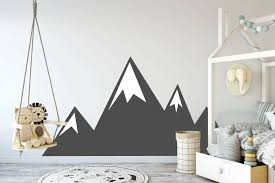 Mountains Wall Decal Mountain Range Sticker Kids Decal Nursery Decor Childrens Sign Large Kids Room Wall Decor Mountain Wall Decal Kids Wall Decals