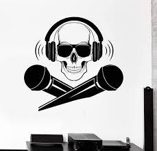 Vinyl Wall Decal Skull Dj Microphone Headphones Music Stickers Unique Wallstickers4you