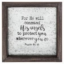 Psalm 91 11 Framed Tin Sign Wood And Tin 8 X 8 X 1 3 8 Inches Mardel