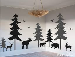 Amazon Com Woodland Vinyl Wall Decal Woodland Nursery Decal Pine Tree Decal Nature Forest Set Of 5 Trees With Animals Deer Moose Bear Birds Home Kitchen