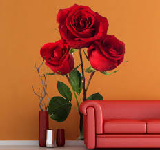 Three Red Roses Floral Wall Decal Tenstickers