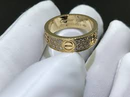 cartier love ring diamond paved 18k