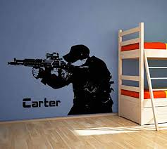 Amazon Com Soldier Wall Decal Soldier Wall Decor Soldier Wall Sticker Military Wall Decals For Boys Room Military Wall Art Stickers Decals Ik3774 Handmade