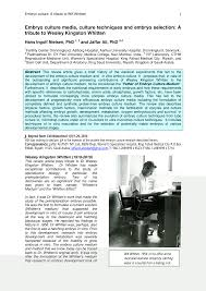 PDF) Embryo Culture Media, Culture Techniques and Embryo Selection: A  Tribute to Wesley Kingston Whitten