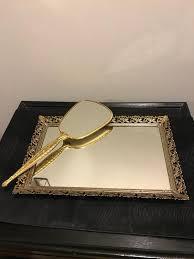 vintage brass filigree mirror tray