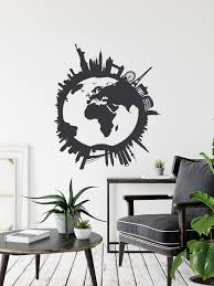 World Map Globe Wall Decal City Skyline Wall Decal Travel Stickers Decorations For Home Room Bedroom Classroom Office City Scape Art Sb124 In 2020 Sticker Decor Wall Decals World Map Decor