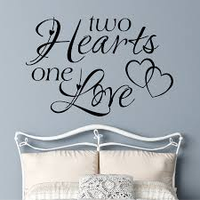Romantic Bedroom Wall Decal Two Hearts One Love Vinyl Wall Lettering Letter Wall Wall Decals For Bedroom