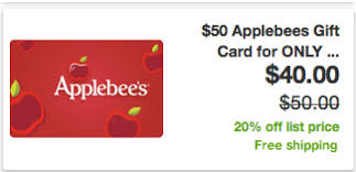 50 applebees gift card only 40