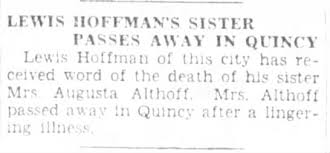 Althoff, Augusta Hoffman;obit; The Jacksonville Daily Journal, April 17,  1929, Wed. page 2 - Newspapers.com