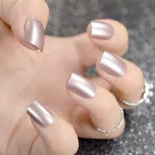 Shiny Short Fake Nails Falt False Metal Mirror Acrylic Nail