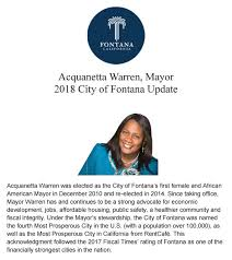 Acquanetta Warren, Mayor 2018 City of Fontana Update | November 2, 2018