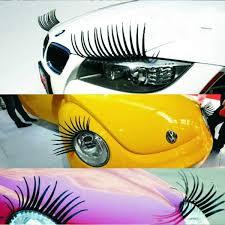 New Fashion 2pcs 3d Charming Black False Eyelashes Fake Eye Lash Sticker Car Headlight Decoration Funny Decal For Beetle Drop Shipping Wish