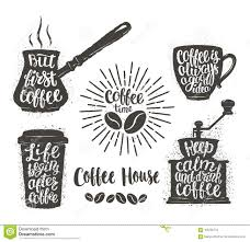 coffee lettering in cup grinder pot shapes modern calligraphy