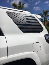 Xplore Auto Toyota 4runner Precut Usa Flag Window Decals Matte Black American Vinyl For Rear Side Windows Both Sides 2010 2018 Free Installation Tool