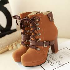 retro rivet leather buckle lace boots