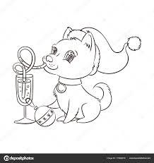 Schets Van Cartoon Hond Kerstmuts Champagne Drinken Uit Stro