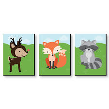 Woodland Creatures Gender Neutral Forest Animal Nursery Wall Art Kids Room Decor 7 5 X 10 Inches Set Of 3 Prints Bigdotofhappiness Com