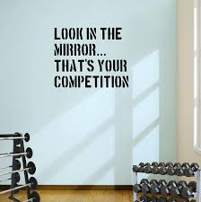 Amazon Com Designdivil Look In The Mirror Gym Wall Decal Quote Fitness Workout Boxing Home Kitchen
