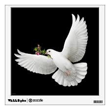 Flying Peace Dove With Olive Branch Wall Decal Zazzle Com
