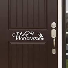 Amazon Com Welcome Indoor Outdoor Front Door Vinyl Sticker Door Decal 19 Wide X 6 High Black Or White Automotive
