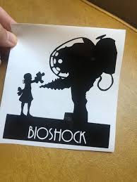 Bioshock Video Game Big Daddy And Little Sister Vinyl Sticker Decal Bioshock Big Daddy Vinyl Sticker