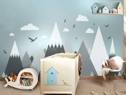 Amazon Com Afcn Gray Cream Mountains Wall Sticker Home Decor For Kids Room Nursery Eagles Pine Trees Clouds Beautiful Art Murals Decal Jw373 Baby