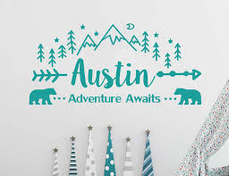 Sale Adventure Awaits Wall Decal Personalized Name Vinyl Sticker Custom Name Mountain Nursery Rustic Decor Kids Bedroom N 35 Wall Stickers Aliexpress