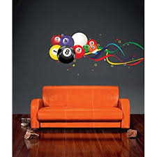 Amazon Com Walls With Style Billiard Balls Wall Decal Stickers Pool Room Game Room 7 In 16 Total Multi Colored 7 Balls Home Kitchen