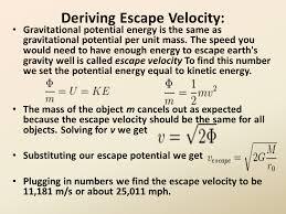deriving escape velocity
