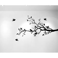 Tree Branches Wall Decal Love Birds Vinyl Sticker Nursery Leaves 56 Wide X 28 High Right To Left Matte Black Walmart Com Walmart Com