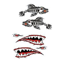 Amazon Com 4 Pieces Set Kayak Decals Skeleton Fish Bones Shark Teeth Mouth Canoe Fishing Boat Car Motorcycle Wall Window Laptop Stickers Graphics Accessories Automotive