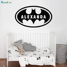 Home Decoration Batman Custom Name Bat Boys Room Wall Decal Removable Vinyl Boy Name Wall Sticker Decals Kids Room Mural Yt946 Wall Stickers Aliexpress