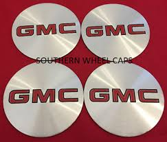 Gmc Truck Rim Center Cap Decal Emblem Sticker 3 Red Chrome Set Of 4