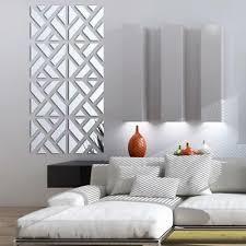 Silver Wall Sticker Mirror Acrylic Wall Decal Geometric Pattern Home Decoration Ebay