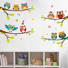 Elecmotive Wall Stickers Of Tree Owls Wall Decals For Kids Rooms Nursery Baby Boys And Girls Bedroom Be Kids Wall Decals Diy Wall Decals Wall Stickers Kids