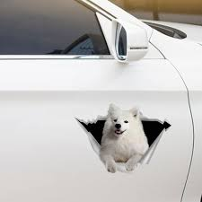 We Like Riding In Cars Samoyed Car Door Fridge Laptop Sticker V1 Follus Com