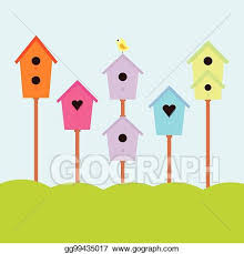 Eps Vector Nesting Box With Bird Stock Clipart Illustration Gg99435017 Gograph