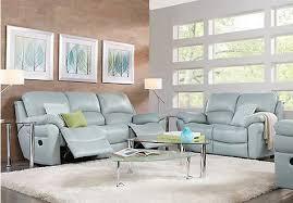 vercelli aqua leather 3 pc living room