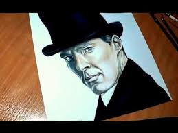 Drawing of Benedict Cumberbatch as Sherlock by Lessie - YouTube