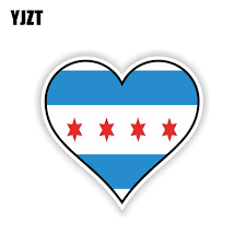 Yjzt 12 5cm 11 7cm Chicago Heart Flag Motorcycle Helmet Car Sticker Pvc Decal 6 1572 Car Stickers Aliexpress