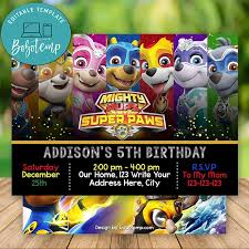 Editable Mighty Pups Paw Patrol Invitaciones De Cumpleanos Diy