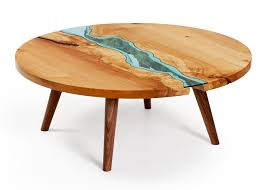 wooden tables embedded with glass