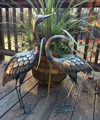 copper patina crane pair metal garden