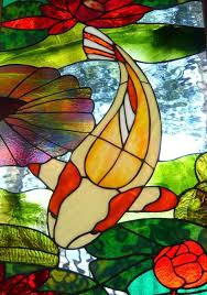 koi stained glass panel by cathedral