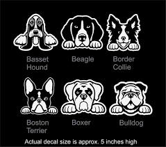 Dog Car Window Decal Vinyl Car Window Decal Basset Hound Beagle Border Collie Boston Terrier Boxer Bulldog Dog Decals Boxer Bulldog Vinyl Window Decals