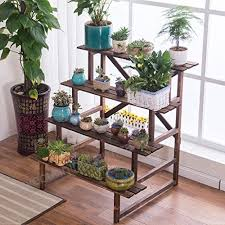 zhen guo step style wooden plant rack