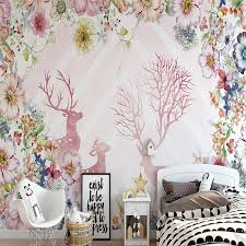 Sika Deer Head Flowers Wall Stickers Wall Decals Kids Home Decor Removable Bs