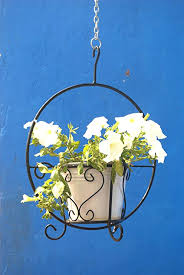 green gardenia iron hanging basket with
