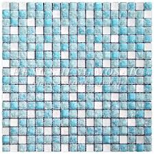 blue ice led broken glass mosaic